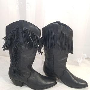 Vintage 80's Dingo Fringe Cowboy Boots Black 7.5
